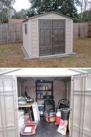 this 7 x 10 ft outdoor shed has plenty of room for a work bench