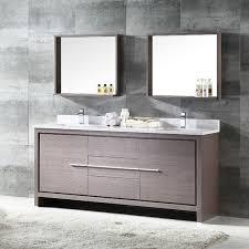 72 Inch Double Sink Bathroom Vanity by Fresca Allier 72 Inch Grey Oak Modern Double Sink Bathroom Vanity