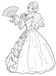 Barbie Coloring Pages Wearing Beautiful Dress