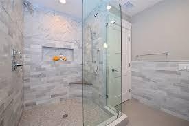 White Stone Tile In Bathroom