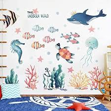 wandsticker4u aquarelle wandtattoo unterwasserwelt i wandbilder 141x118 cm i fische ozean meer wal see pferdchen schildkröte maritim