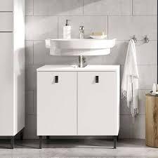 weißer waschbecken unterschrank mit zwei türen sudessa