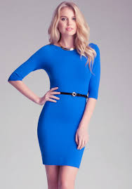 bebe belted sweater dress in blue lyst