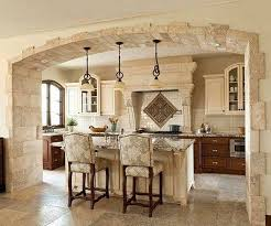 KitchenOld Italian Style Kitchen Design With White Tile Backsplash And Wooden Cabinet Also