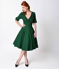 Vintage 50s Dresses 8 Classic Retro Styles Unique 1950s Emerald Green Delores Swing Dress