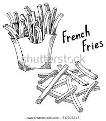 French Fries sketch hand drawn fast food vector illustration French fries in the package