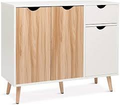 meerveil kommode sideboard holz mit 1 schubladen und 3 türen für wohnzimmer schlafzimmer flur weiß und natur 90 x 30 x 73 cm