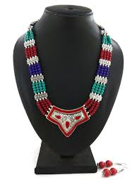 Color Beads Necklace With Earrings