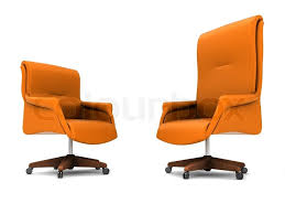 Orange office chair isolated on white background