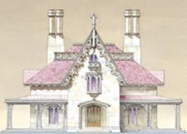 It Arrived In The US As Early 1799 But Became Rage 1840s And 50s AJ Downing Had Encouraged A Wooden Cottage Gothic Style His