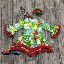 Girls Christmas Tree Dress Set