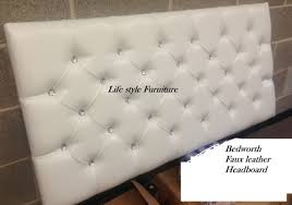 Black Leather Headboard Double by Crystal Diamante 3 Tier Faux Leather Headboard 26
