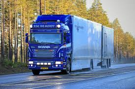 Download Blue Scania Flower Transport Truck On The Road Editorial Stock Photo