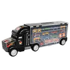 100 Truck Carrier Gymax Portable Container Toy 8 PCs Alloy Car Set