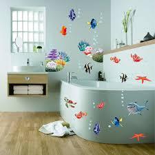 رائع البحر العالم سمكة ملونة الحيوانات الفينيل جدار الفن نافذة الحمام ديكور الديكور ملصقات جدار لغرفة الاطفال الحضانة