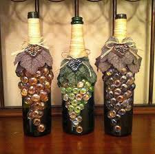 DIY Great Decoration Idea By Using A Wine Bottle Bag Of Dollar Tree Marbles