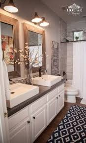 Love The Rustic Accents Elegant White Sinks And Cabinetry Gray Back Splash In