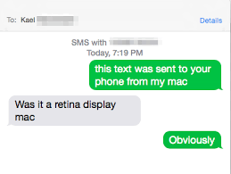 Screenshot 2014 10 20 19 26 45 If all is setup property you ll now be sending and receiving texts via your Mac