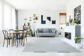 echtes foto einem grauen sofa im geräumigen wohnzimmer mit biokamin tisch mit stühlen holzregale pflanzen und gemälden an den wänden stockfoto und