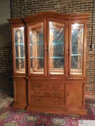 Henredon Breakfront China Cabinet by Knob Creek Cherry Chippendale Style Lighted China Cabinet With