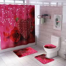 3 stücke oder 4 stücke badezimmer mat set schöne herz muster bad teppich non slip wc matte und bad teppich set bad produkte