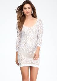 bebe crochet lace dress in white lyst