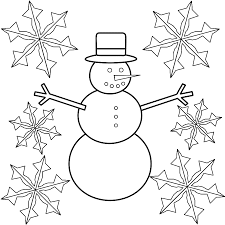 Snowflake Coloring Pages Snowman With Snowflakes Page Winter Sheets