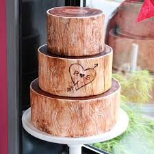 Initials Carved In Birch Tree Cakes
