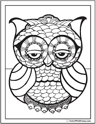 Geometric Owl Coloring Page