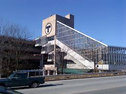 File T sign and glass pyramid at Alewife Station Wikimedia