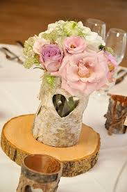 Rustic Centrepieces Tree Slices Packington Moor Wedding Flowers Passion For