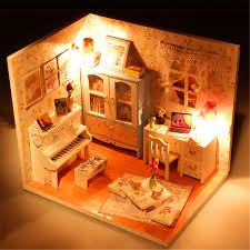 Hoomeda Diy Wood Dollhouse Miniature With Ledfurniturecover Doll