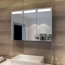 sonni spiegelschrank bad 65 90cm led spiegelschrank 3 türig badezimmerspiegel mit beleuchtung badezimmerspiegel badschrank mit steckdose und