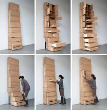 Space Saving Staircase Shelves For Floor To Ceiling Storage Designed By Danny Kuo