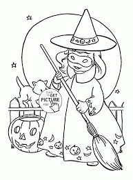 Halloween Witches Coloring Pages Cute Little Witch For Kids Printables Sheets