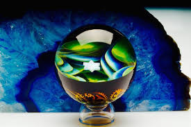Northern Lights Golden Filigree Space Marble