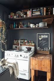 Black And White Rustic Kitchen With Boho Vintage Style