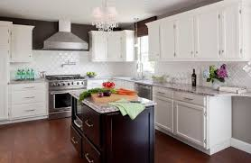 alluring white themed kitchen idea with glossy white island also