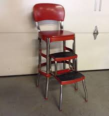 Cosco Retro Chair With Step Stool Black by Vintage Kitchen Step Stool Chair Today