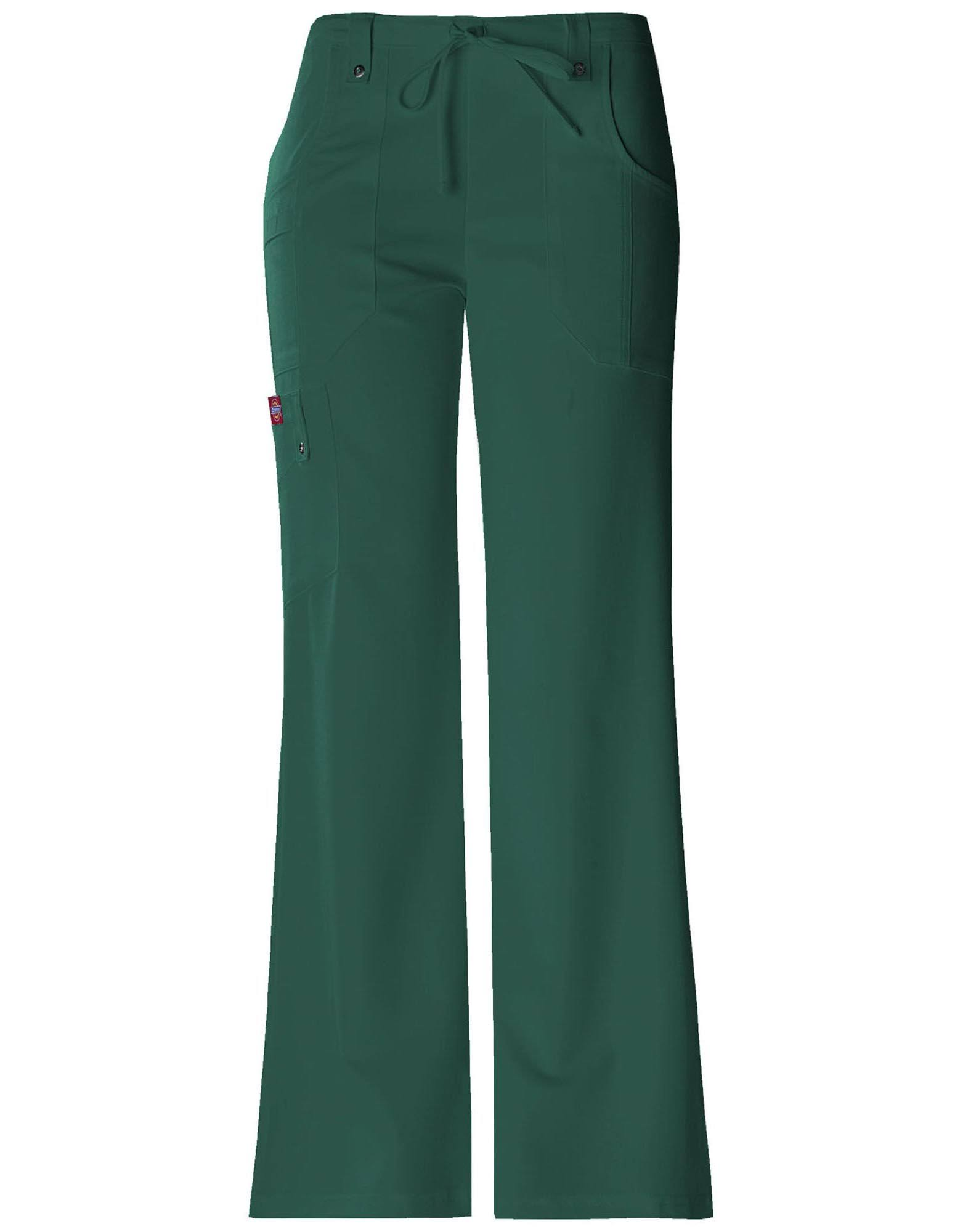 Dickies Women's Xtreme Stretch Fit Drawstring Flare Leg Pant - Hunter Green, Medium
