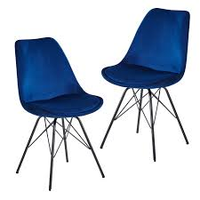 esszimmerstuhl 2er set samt blau küchenstuhl mit schwarzen beinen swisshandel24 wir verschönern ihr zuhause