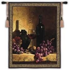 Fine Art Tapestries Wine Bottle With Grapes And Walnuts Wall Tapestry Beige Find This Pin More On Kitchen Decor