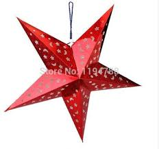 Can Be Folded Pentagram 4 Colour Laser Paper Christmas Star Ornaments Bar Ceiling Lampshade Decoration