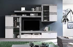 anbauwand wohnzimmerschrank wohnwand schrankwand fernsehwand wohnzimmerschrankwand wohnschrank beton optik lichtgrau weiß