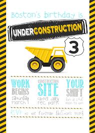 100 Truck Birthday Invitations Fun Construction Party Invitation Big Great