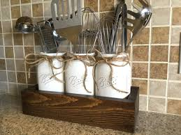 Rustic Kitchen Decor Utensils Holder Mason Jar