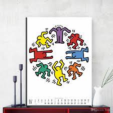 großhandel zz1420 moderne leinwand kunst kalender keith haring leinwand öl kunst malerei wandbilder für wohnzimmer schlafzimmer dekoration ungerahmt
