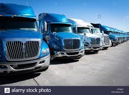 Fleet Of Blue Semi-truck 18 Wheeler Lorries Stock Photo: 221785803 ...