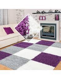 hochflor langflor wohnzimmer shaggy teppich florhöhe 3cm kariert lila weiss grau