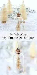 Snowy Bottle Brush Tree Ornaments